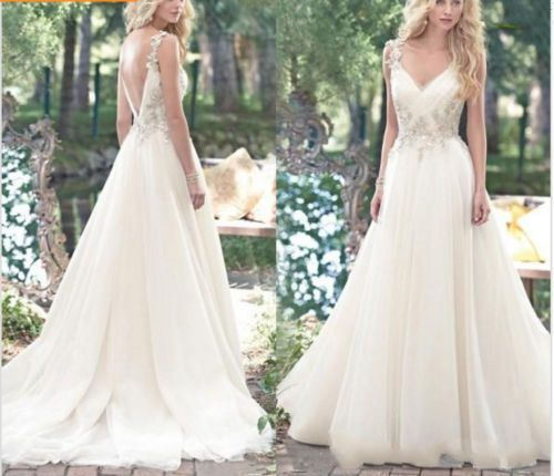 Beach-Wedding-Dresses-Vintage-Crystal-Beaded-Deep-V-Neck-Boho-Cheap-Bridal-Gowns