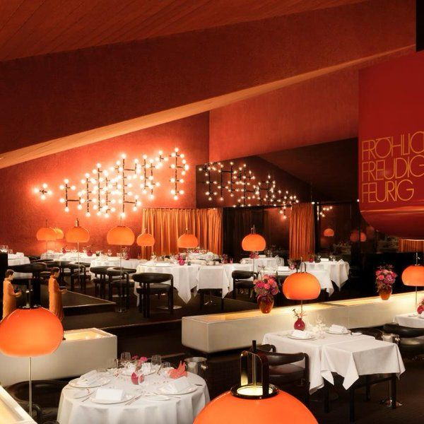 retro restaurant space in germany - Beaded Inset Restaurant Interior