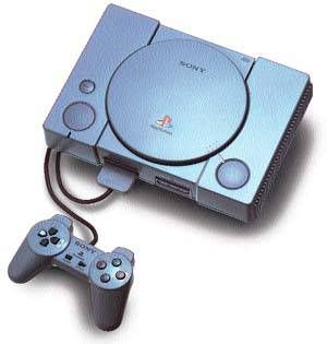 The original Play Station! This came out in the mid 90's and was very popular. Games were played on CD's and the controller had a cord that connected to the console.