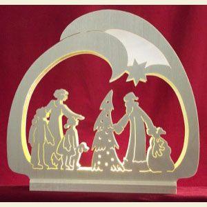 Weihnachts-Deko mit Schwibbogen - LED-Leuchter Weihnachtsmann - 30x28,5x4,5cm von Michael Müller aus dem Erzgebirge
