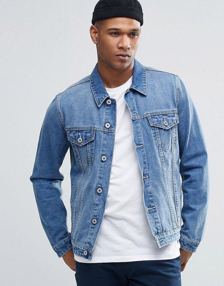 Image 1 ofASOS Denim Jacket In Slim Fit In Light Blue Wash