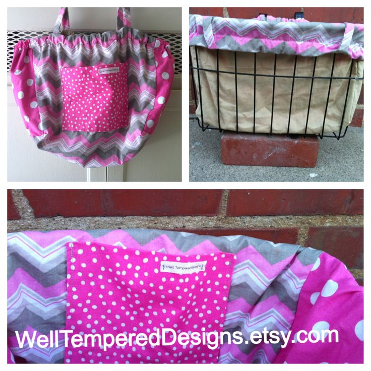 Chevron and Pink Polka Dots Reversible Bicycle Basket Liner WellTemperedDesigns.etsy.com