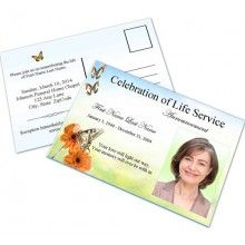 Funeral Announcement Cards are a great way to announce the passing of a loved one, or for inviting a loved one to a funeral or memorial or celebration of life service.