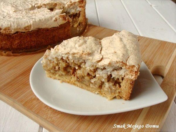 Smak Mojego Domu: Kruche ciasto z jabłkami, orzechami i kokosową bez...