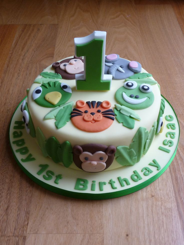 animals birthday cake.  Birthday Cakes  Pinterest  Jungle animals ...