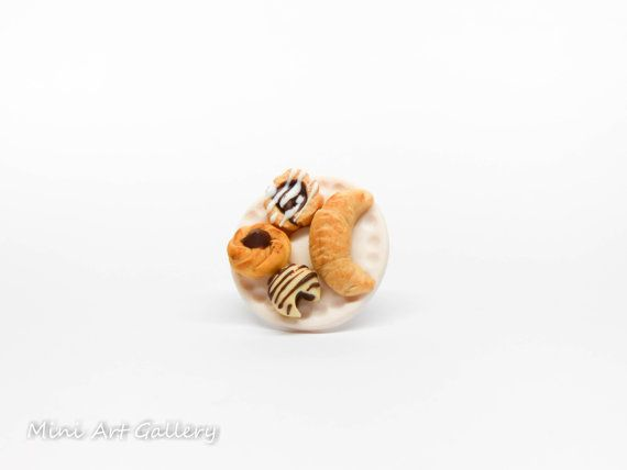 Miniature desserts ring / french croissant, fondant, chocolate roll bun, tart ring / sweets on a plate food jewelry / mini food polymer clay. © Mini Art Gallery