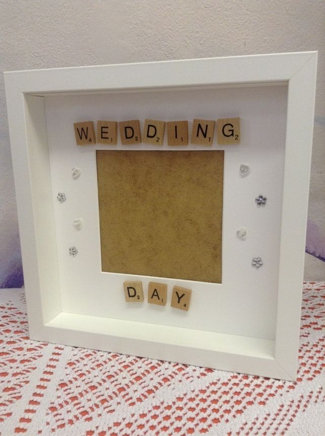 Wedding day scrabble tiles photo frame                                                                                                                                                      More