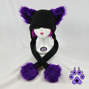 Purple Faux Fur Kitty Cat Puffet Hat cyber goth fleece by pawstar, $35.00