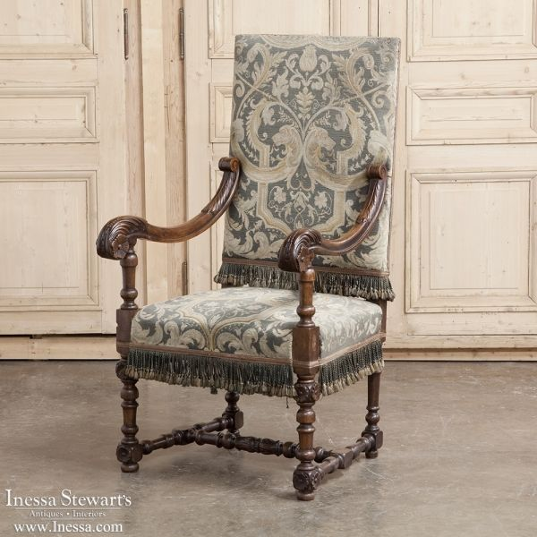 Antique Renaissance Furniture ~ 19th Century Baroque French Walnut Armchair  with Aubusson Tapestry Upholstery | www - 88 Best Renaissance Antique Style And Architecture Images On