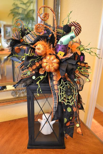 Halloween Lantern...with a ghost & floral decor.