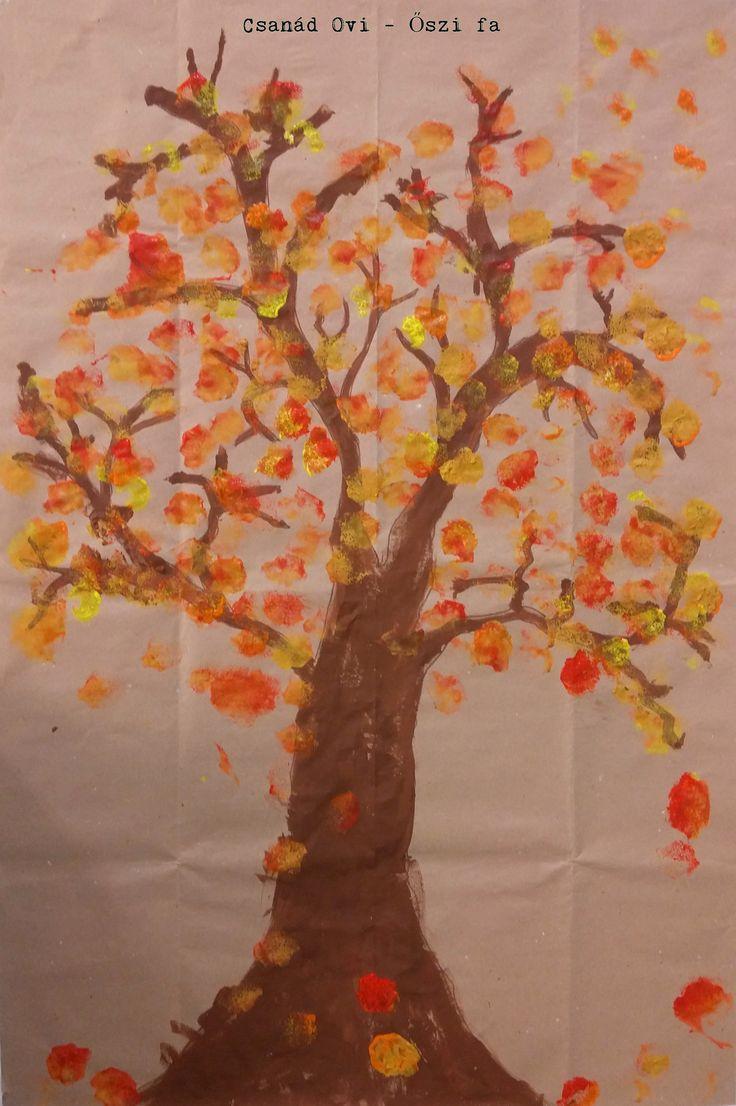 Szivaccsal festve őszi fa... gyerekekkel