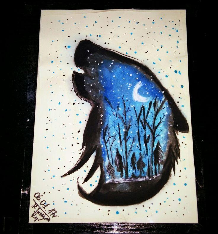 Art.watercolor Wolf (๑•̀ㅂ•́)و✧●v●