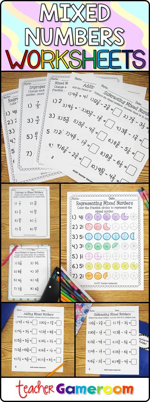 Each printable worksheet has 8 to 10 mixed numbers problems. Worksheets include identifying mixed numbers, improper fractions to mixed numbers, mixed numbers to improper fractions, and adding & subtracting mixed numbers. 5 worksheets in and an answer keys are included for each worksheet. #iteachtoo #teacher #teacherspayteachers