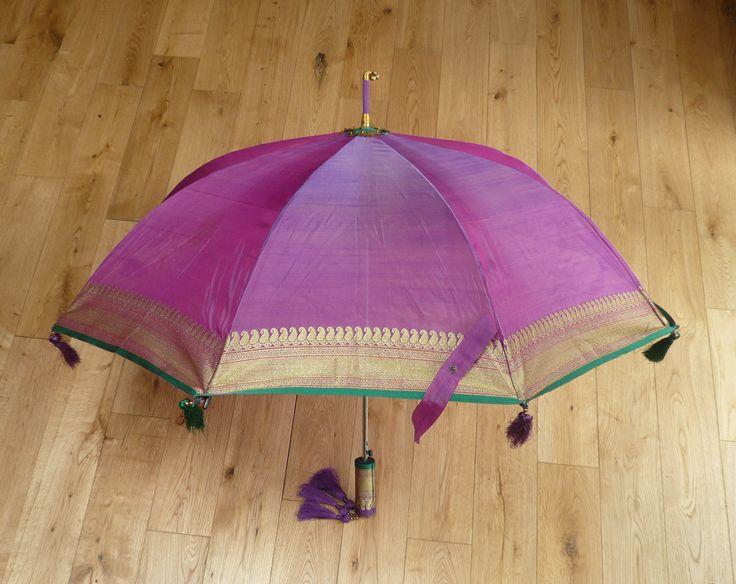 Handmade pure silk wedding indian bollywood style umbrella