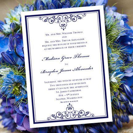Best Wedding Invitations Images On Pinterest Letter Fonts - Wedding invitation templates: royal blue wedding invitation templates free