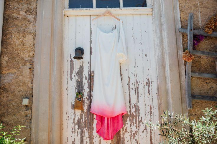 Bride with Dip dye pink wedding dress