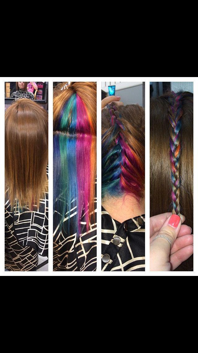 Fun vivid peekaboo hair color Rainbow hair color multicolored hair vivid hair color