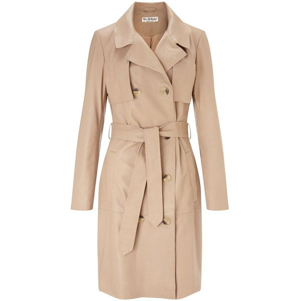 Miss Selfridge Leather Trench Coat (16.140 RUB) ❤ liked on Polyvore featuring outerwear, coats, jackets, trench, nude, leather trench coats, beige trench coat, real leather coats, miss selfridge and leather coat
