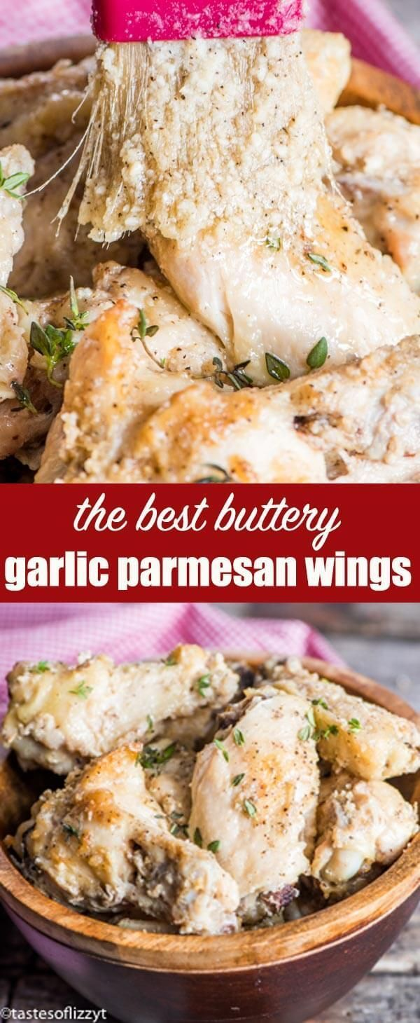 Easy baked chicken wings with buttery garlic parmesan sauce. These Garlic Parmesan Wings are a Buffalo Wild Wings copycat recipe that your family will love! #chickenwings #bakedwings #garlic #parmesan #butter #sauce #wings     via @tastesoflizzyt