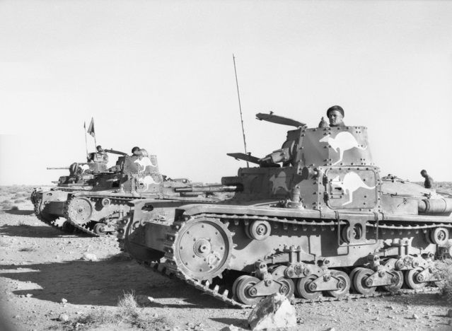 Australian soldiers with captured Italian Fiat M11/39 & M13/40 tanks in NorthAfrica (Tobruk, Libya - January 1941)