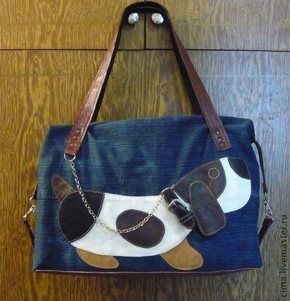 Джинсовая сумка с аппликацией из кожи - синий,рисунок,сумка,сумка джинсовая