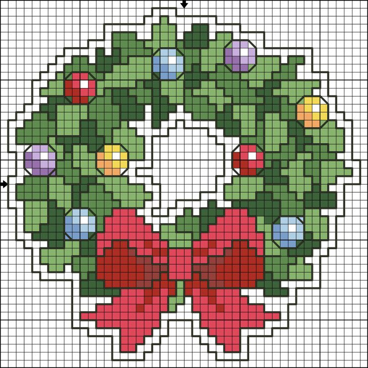 Wreath Christmas perler bead pattern
