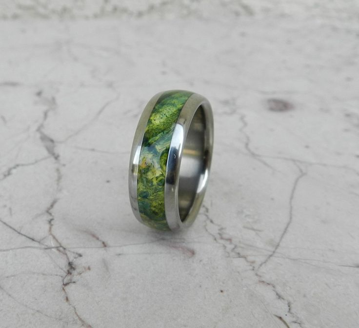Titanium Wood Ring Green Lantern Box Elder Burl Wooden Band Mens or Ladies Wedding Ring - Bands Available in size 4-18 Rings. $195.00, via Etsy.