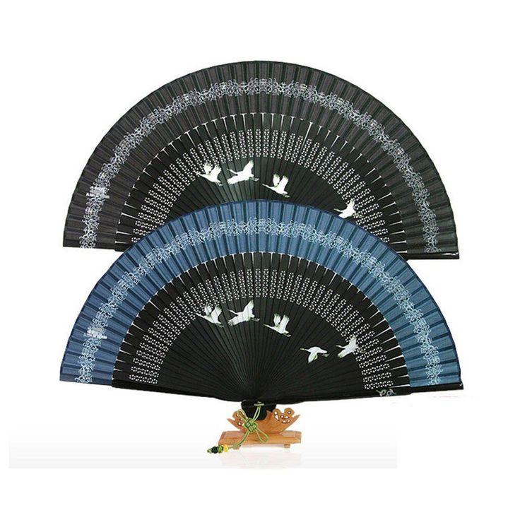 Korea Traditional Oriental Silk Nacre Flying Cranes Folding Hand Fan #Handmade #Casual