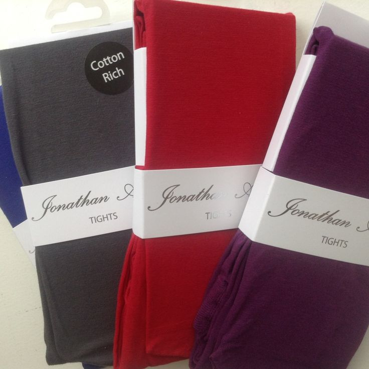 Jonathan Aston cotton rich tights in cobalt, grey, red and purple