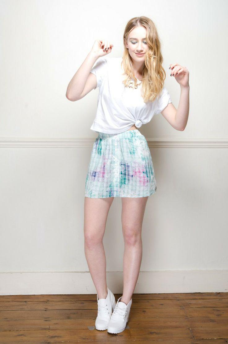 Retro mint green graphic print tennis skirt - Skirts - Womens Vintage | Retro & Vintage Clothes UK