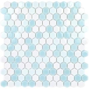 Splashback Tile Recoup Hexagon Glacier 11.5 in. x 12 in. x 6 mm Glass Mosaic Floor and Wall Tile-RECOUPHEXGLC - The Home Depot
