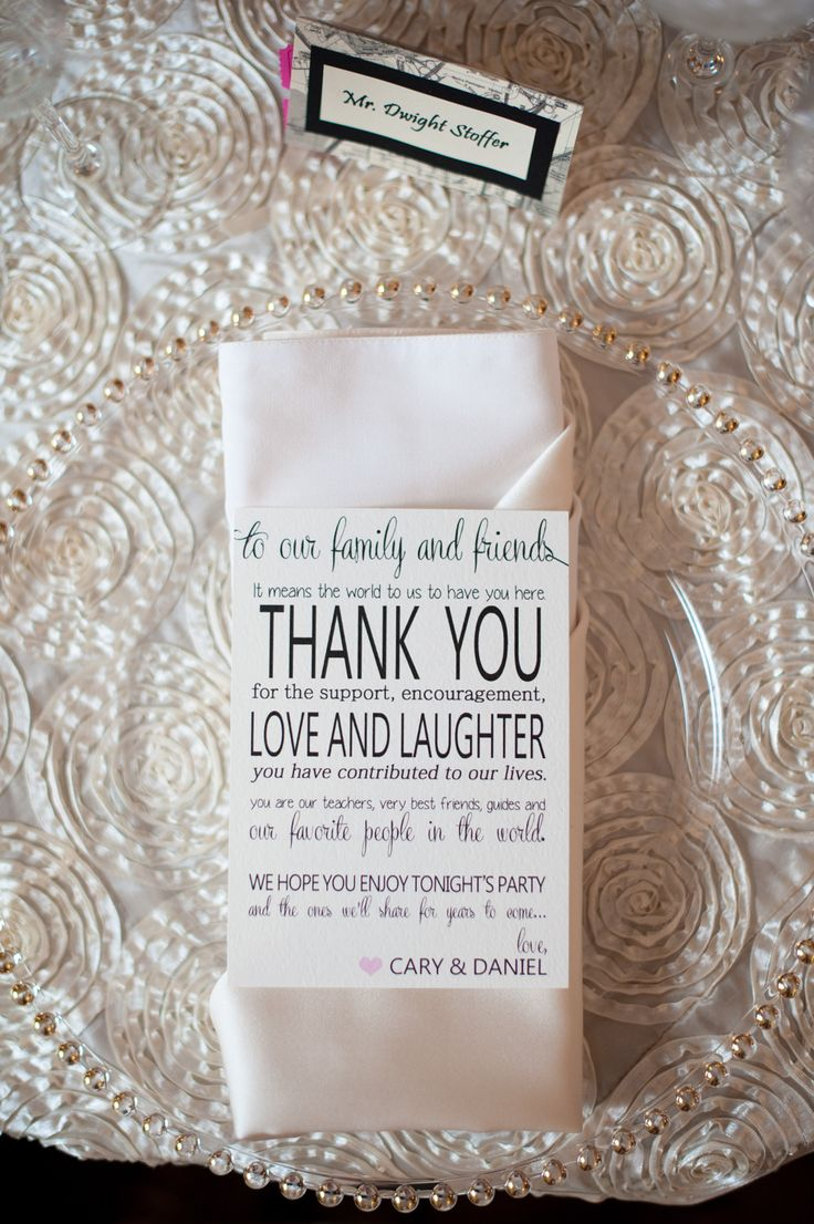 LOVE a big fat THANK YOU at each guest's place. See this elegant wedding on SMP - http://www.StyleMePretty.com/little-black-book-blog/2014/01/10/dar-headquarters-pink-gold-wedding/ Rebekah Hoyt Photography