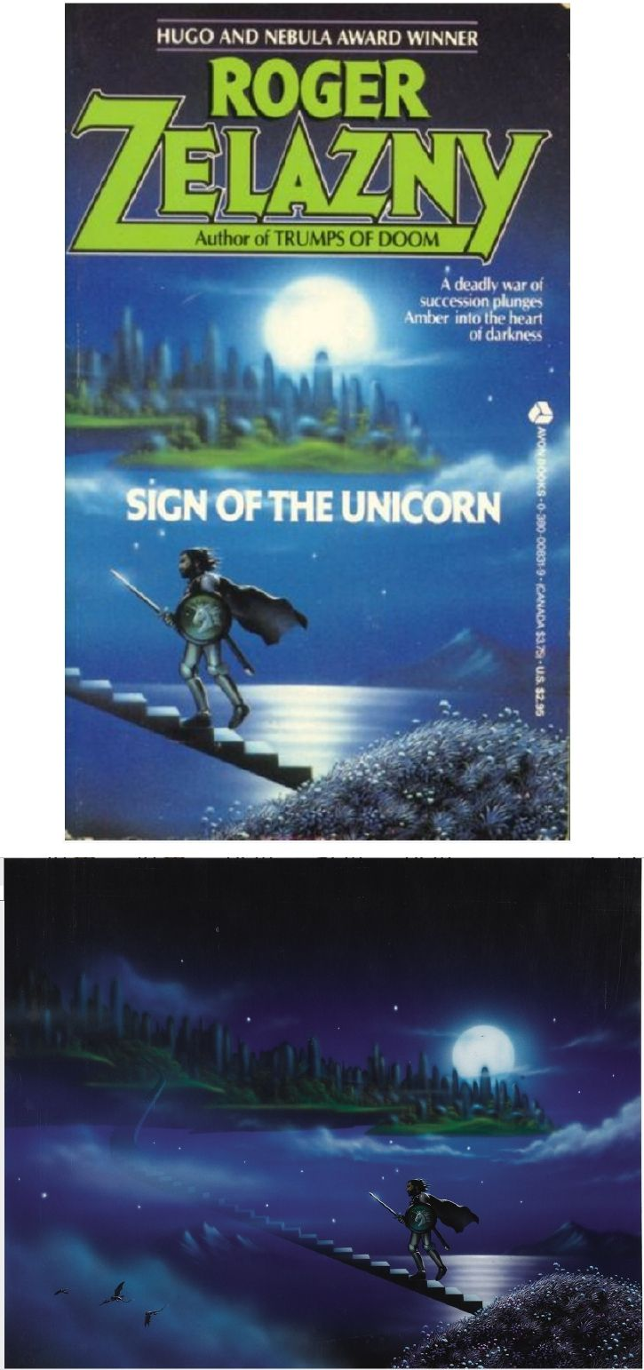 TIM WHITE - Sign of the Unicorn by Roger Zelazny - 1986 Avon Books - cover by isfdb - print by fineart.ha