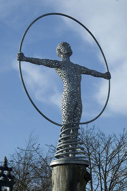 'Spiral of Life' - photo by Gordon -C-, via Flickr;  Statue by Andy Scott;  This almost 10' tall figure stands at the entrance to the West of Scotland Science Park, Glasgow, Scotland