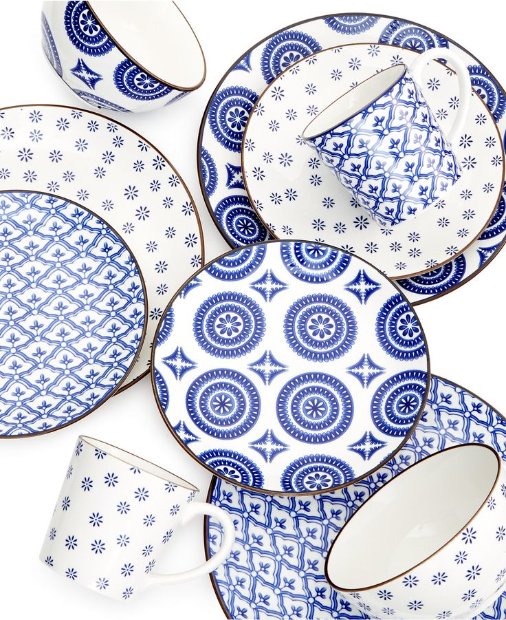 Gibson Blue and White Dinnerware Collection - Dinnerware - Dining & Entertaining - Macy's