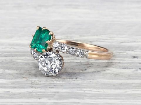 "ANTIQUE EDWARDIAN EMERALD & DIAMOND ""TOI & MOI"" ENGAGEMENT RING"