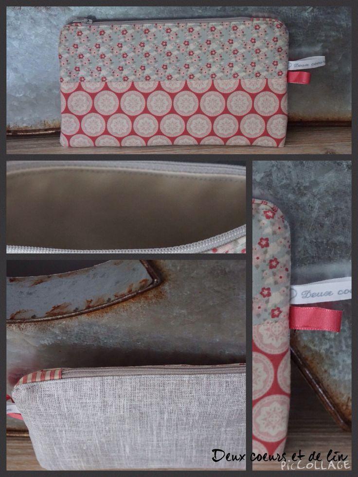 Grande trousse plate, Lin gris et tissus Tilda, doublée toile enduite, By Sophie