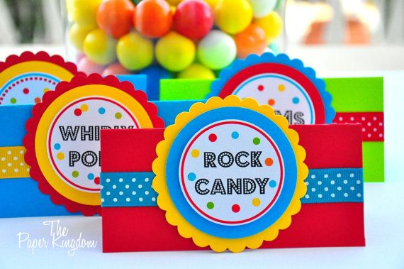 Tent Cards in Primary Colors by thepaperkingdom on Etsy, $16.00