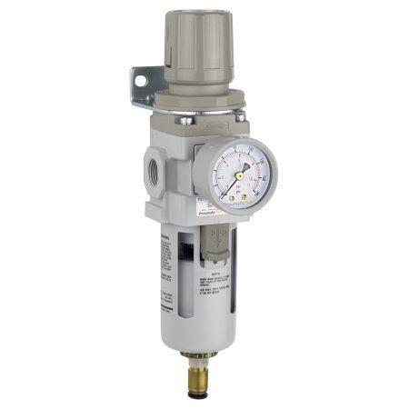 PneumaticPlus SAW300-N03BDG Compressed Air Filter Regulator Piggyback Combo 3/8 inch NPT - Poly Bowl, Auto Drain, Bracket, Gauge