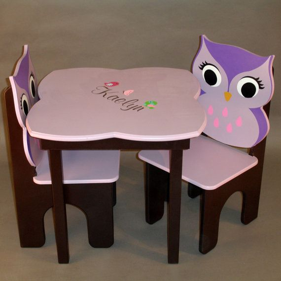 Owl Little Girls Table and Owl Chair Set by GreatCustomFurniture, $213.00...good thing i'm slightly an artist i'll just paint all this stuff myself!