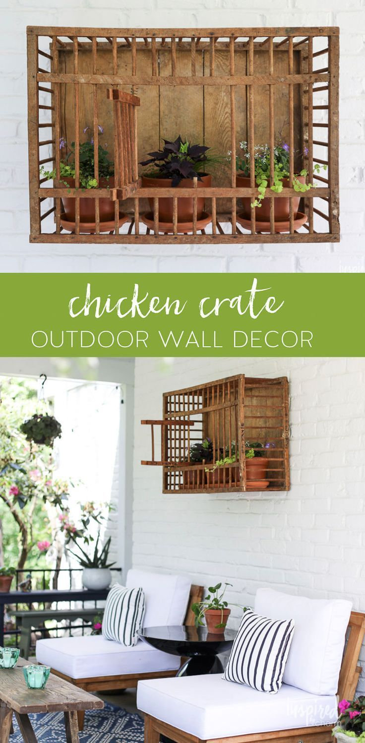 Vintage Chicken Crate Outdoor Wall Decor Outdoor Decor Planter