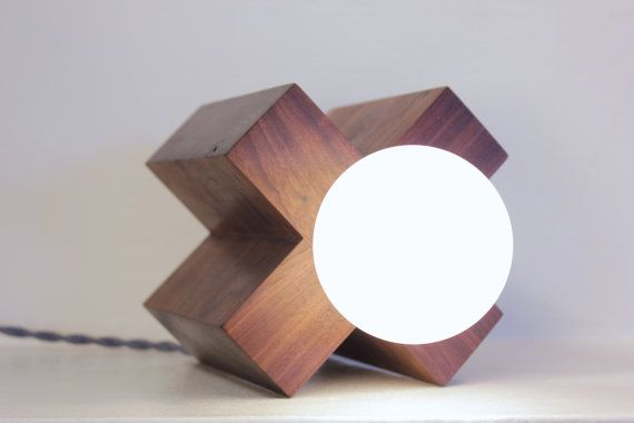 table lamp desk lamp rustic modern wood // mid by ninosheadesign