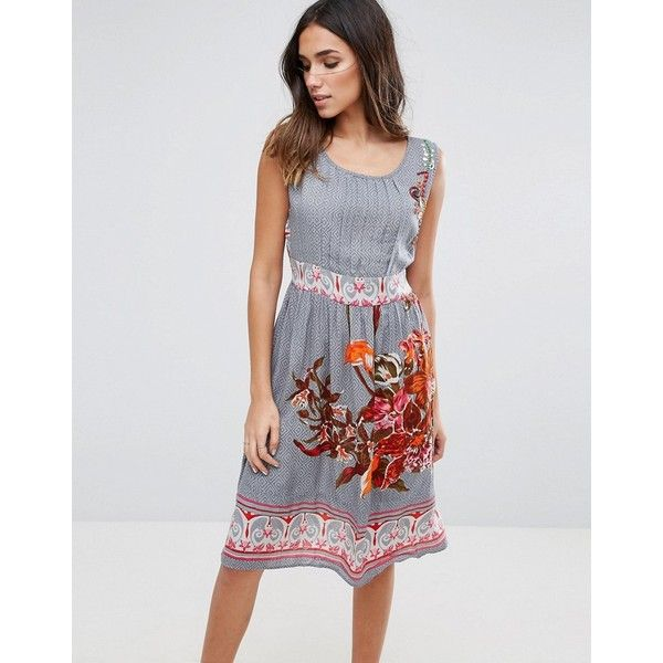 Anmol Midi Dress With Floral Placement Print ($26) ❤ liked on Polyvore featuring dresses, grey, flower pattern dress, grey dresses, floral midi dress, print dresses and pleated dresses