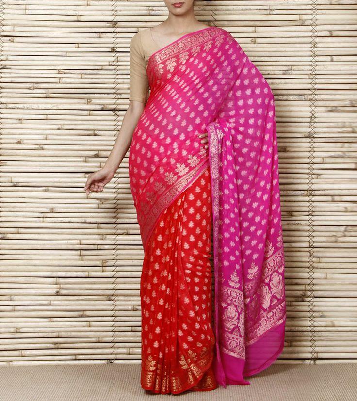 Pink & Orange Handloom Banarasi Silk Chiffon Saree with Designer Blouse