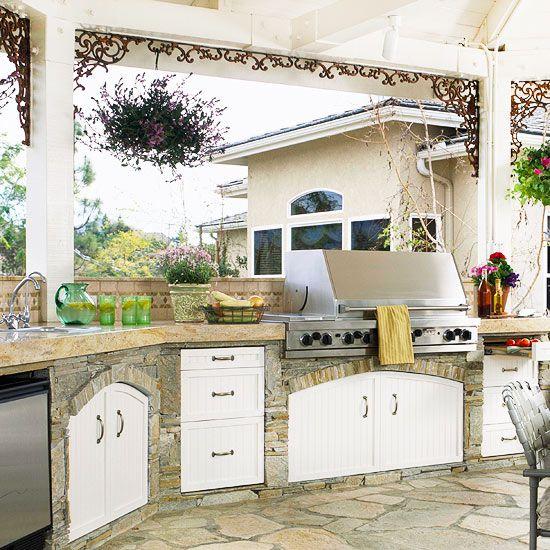 Love this stone outdoor kitchen