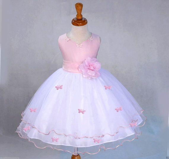 Blanca rosa niña de las flores butterfy tul por ekidsbridalusa