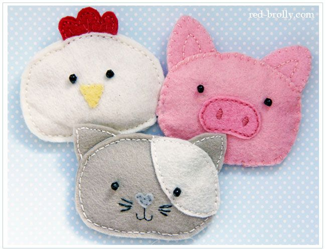 hand hotties made from felt in pig, chicken and cat design                                                                                                                                                                                 More