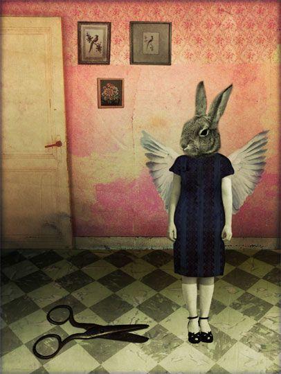 This art work reminds me of the mixed media anthropomorphic artist, Kim Wassak. This fine artist is Katrine Kalleklev.