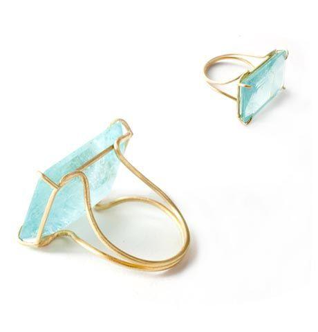 MAKELLOS! Aquamarin Ring mit Goldeinfassung! Kerst…