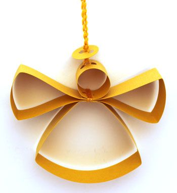 Paper Strips Angel Ornament. Try different colored papers - blue and white, etc. Repinned by www.mygrowingtraditions.com
